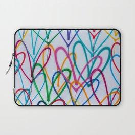 Multicoloured Love Hearts Graffiti Repeat Pattern Laptop Sleeve