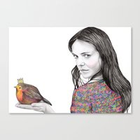 birdy Canvas Prints featuring Birdy by label tania