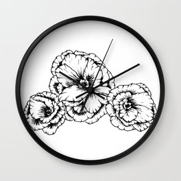 Poppies in Black Wall Clock