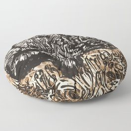 Buffalo's Roam, American Bison Wildlife Black White Gold Linocut Print with Collage Floor Pillow