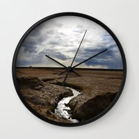 iceland Wall Clocks featuring iceland by katie moon