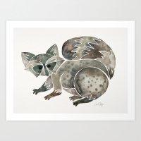 Raccoon – Warm Grey Palette Art Print