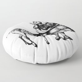 Alice and the Fawn in Black with Transparent Background Floor Pillow