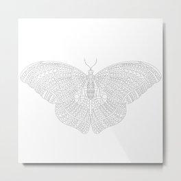 Minimalist Butterfly Line Art Metal Print