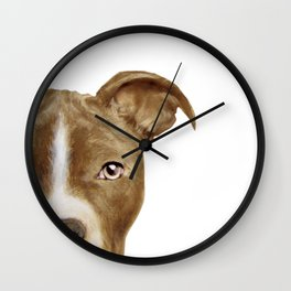 Pit bull brown_original painting print by Miart Wall Clock