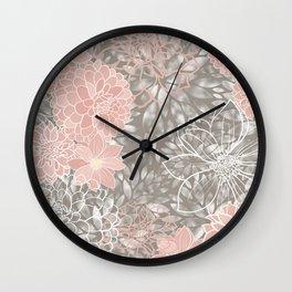 Floral Pattern Dahlias, Blush Pink, Gray, White Wall Clock