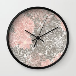 Floral Pattern Dahlias, Blush Pink, Gray, White Wall Clock