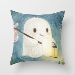 Little ghost in the night Throw Pillow