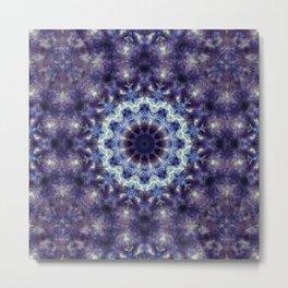 Purple Crystal  Kaleidoscope Mandala Metal Print