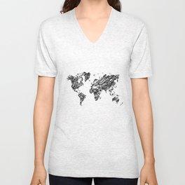 Scribble world map Unisex V-Neck