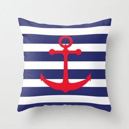 AFE Nautical Red Ship Anchor Throw Pillow