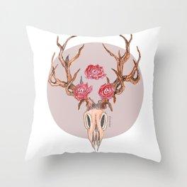 Deer Skull WaterColor Throw Pillow