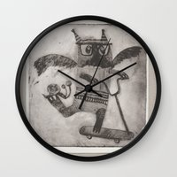 sport Wall Clocks featuring Sport cat by KRADA ZHAN ART