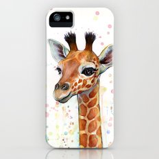 Giraffe Baby Animal Watercolor Whimsical Nursery Animals Slim Case iPhone (5, 5s)