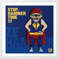 Art Print featuring MEET ZE HAMMER by MEET THE PUGS