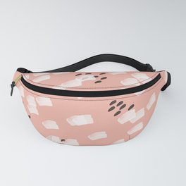 White brushstrokes in soft pink Fanny Pack