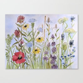 Wildflower Garden Watercolor Flower Illustration Canvas Print