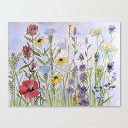 Wildflower Garden Watercolor Flower Illustration Canvas Print