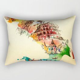 Vintage Italy Map City Travel Love Watercolor Rectangular Pillow