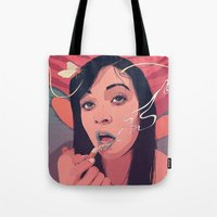 queen Tote Bags featuring Moth Queen by Conrado Salinas