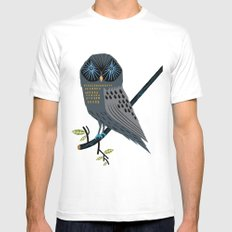 The Perching Owl MEDIUM White Mens Fitted Tee