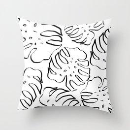 Monstera Illustration I Throw Pillow