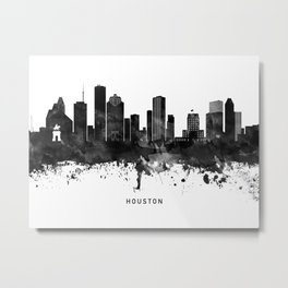 Houston Black White Named Skyline Metal Print