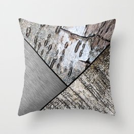 Birch Bark and Digital Brushed Silver Metal Throw Pillow