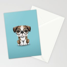 Cute English Bulldog Puppy Wearing Glasses on Blue Stationery Cards