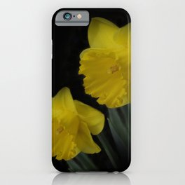 golden daffodils on black iPhone Case
