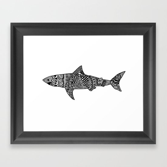 Doodle Shark Framed Art Print