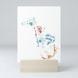 Splash Saxophone Jazz Musician Saxophonist Gift Mini Art Print