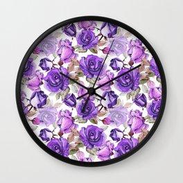 Violet lilac pink watercolor botanical roses floral Wall Clock