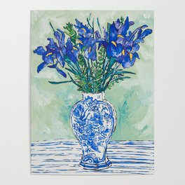 Iris Bouquet in Chinoiserie Vase on Blue and White Striped Tablecloth on Painterly Mint Green Poster