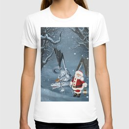 Santa Claus with ice dragon in a winter landscape T-shirt