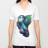 peacock V-neck T-shirts featuring Peacock Queen by Artgerm™