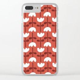 Retro Red Tulip Clear iPhone Case