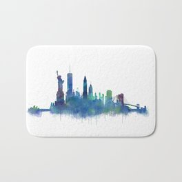 NY New York City Skyline NYC Watercolor art Bath Mat