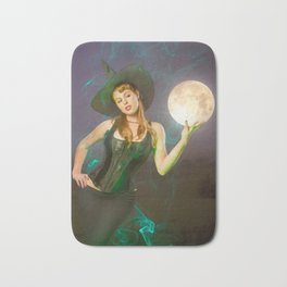 """""""Moonlighting"""" - The Playful Pinup - Halloween Witch Pin-up Girl by Maxwell H. Johnson Bath Mat"""