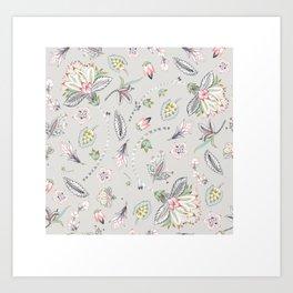 Hand-painted Chintz Pastel Flowers on Grey Art Print