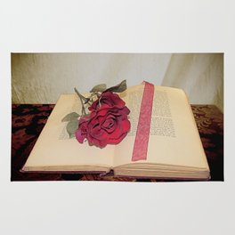 Red Rose on Open Book Library Art A224 Rug