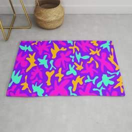 Abstract cute whimsical brights fanciful funny shapes. Colorful retro stylish trendy design Rug