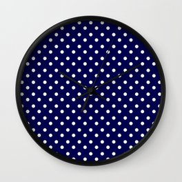 White & Blue Navy Polkadot Pattern Wall Clock