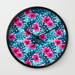 Tropical Hibiscus Pattern Pink Wall Clock