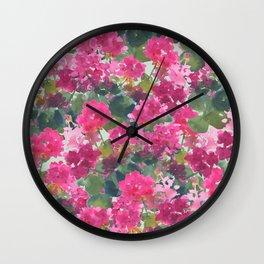 Magenta Geraniums Wall Clock