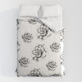 Succulents in Hatching by LauryArts Comforters