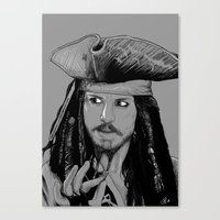 jack sparrow Canvas Prints featuring Captain Jack Sparrow by Hazel