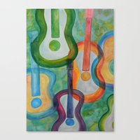 tye dye Canvas Prints featuring Tye Dye Guitars by Ashley Grebe