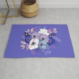 Anemones & Gardenia Blue bouquet Rug