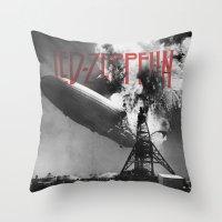 led zeppelin Throw Pillows featuring Zeppelin by Blaz Rojs